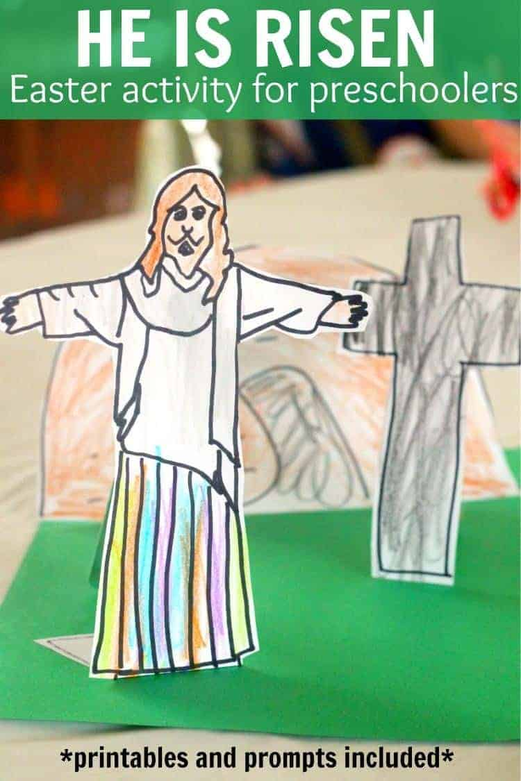 He is Risen Jesus easter activity printable and prompt for preschoolers and toddlers