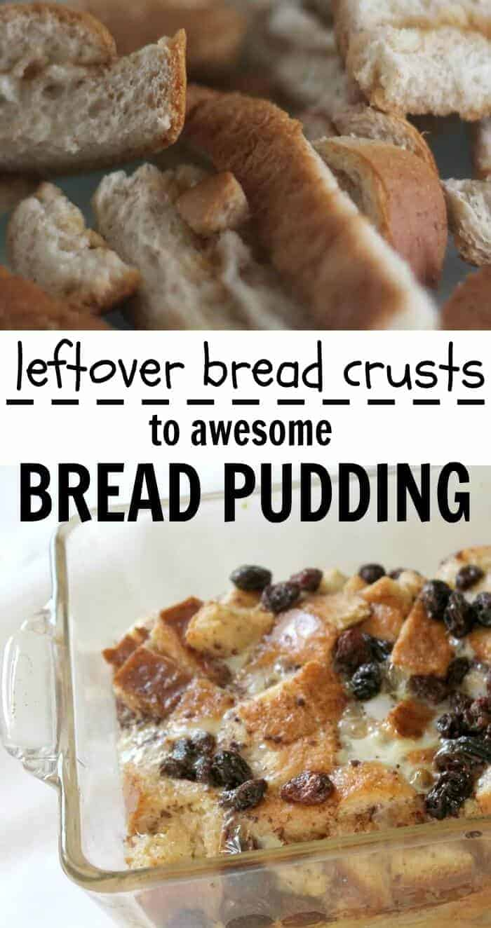Leftover bread crusts and awesome bread pudding