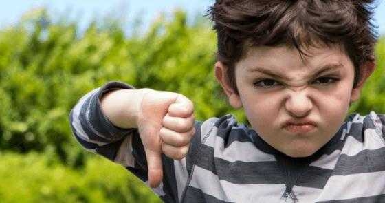 Boy thumbs down idea that mama bear instinct is totally bad.