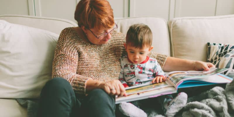 nana reading to grandson, benefit of grandparents