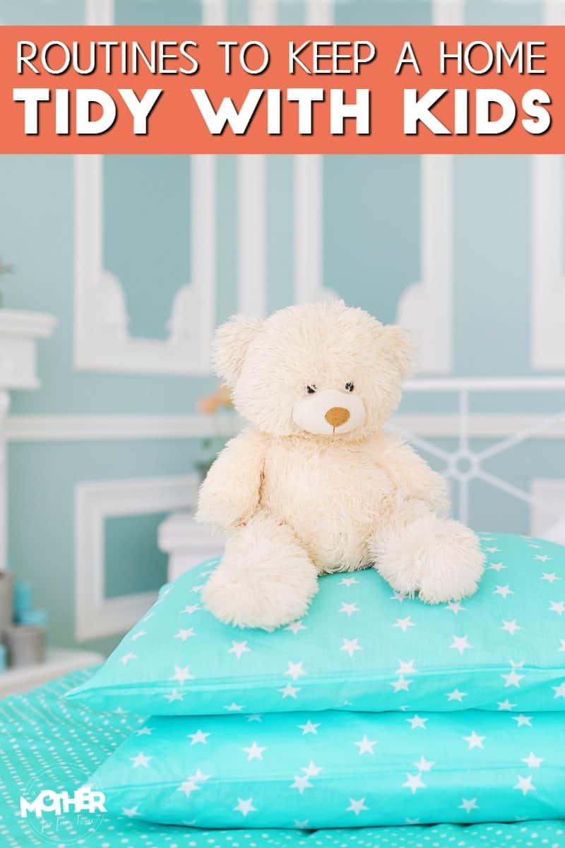 teddy bear on blue pillow with stars