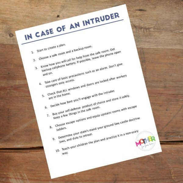 in case of intruder printable