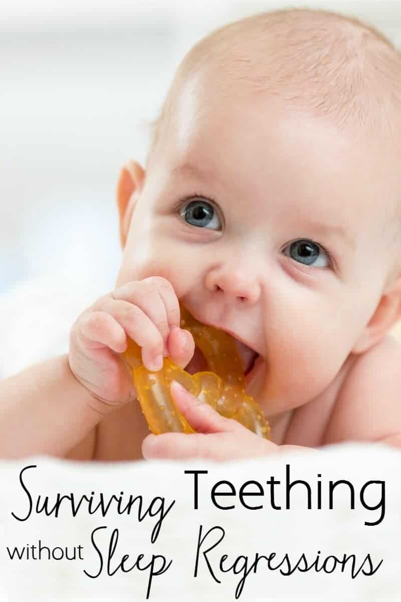 teething baby chewing on a toy