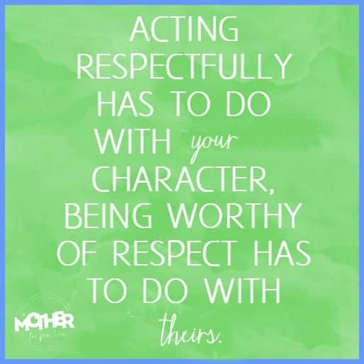 The difference between acting respectfully and respecting someone