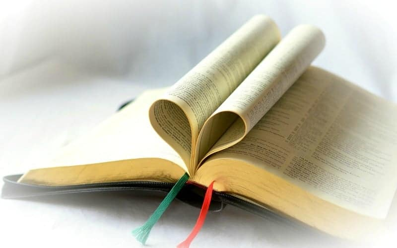 Bible's pages put in a heart