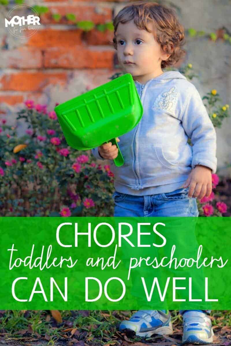 toddler doing a chore
