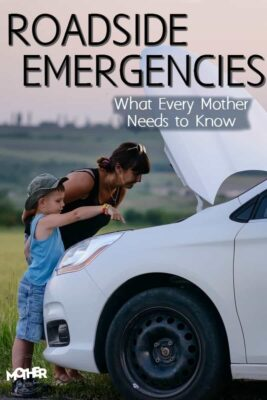 mom and child looking at their car's engine during a roadside emergency
