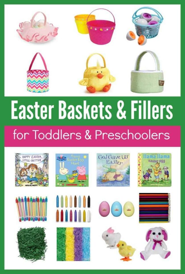 Awesome Easter Baskets (some personalized) and Easter Basket fillers for toddlers and preschoolers