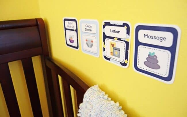 baby wind-down routine cards on wall
