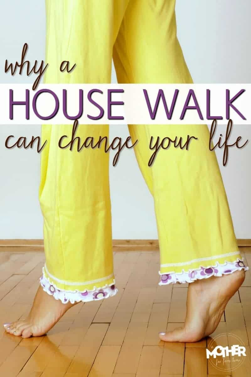 woman in yellow pants taking a house  walk