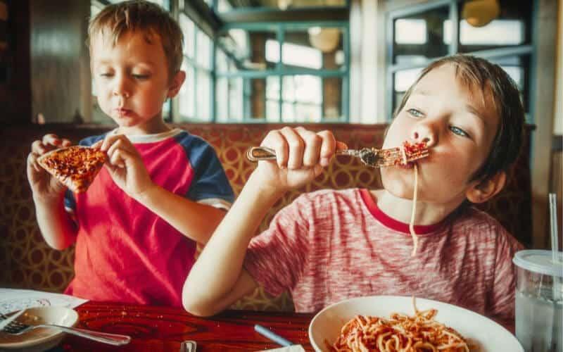 boys eating dinner
