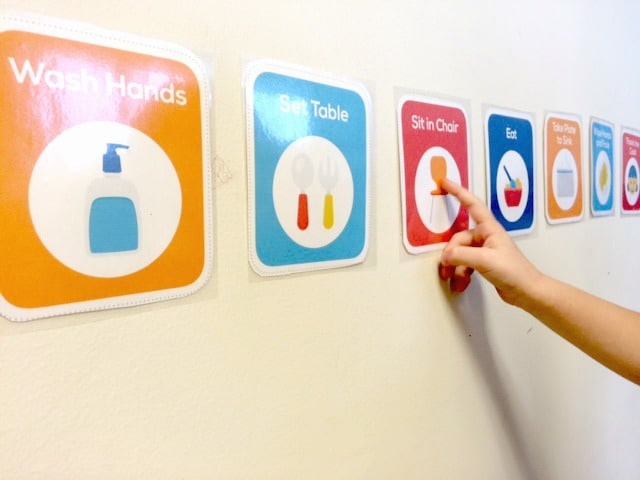 printable routine cards for toddlers and preschoolers on wall