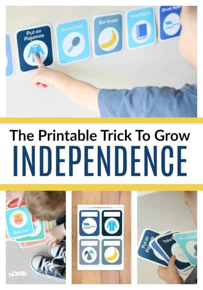 printable trick to grow independence four pictures