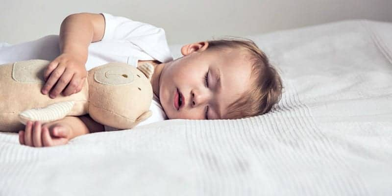 two year old resting with teddy bear