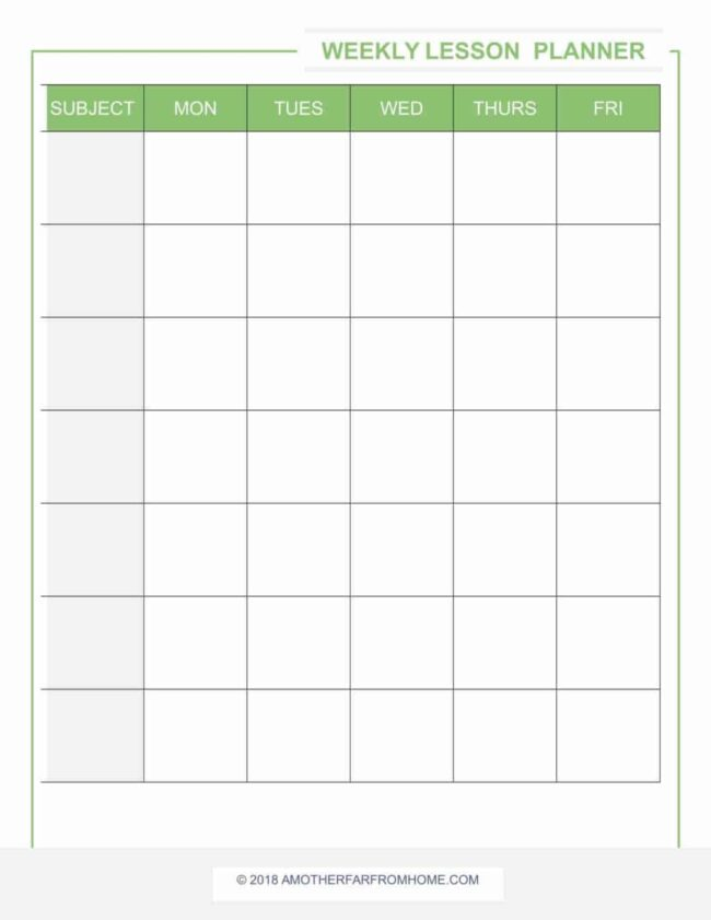 homeschool lesson planner weekly lesson planner