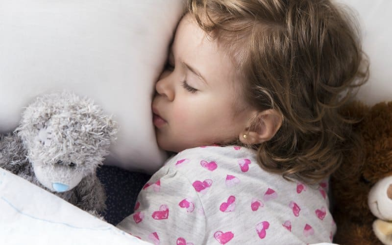 toddler sleeping with grey teddy bear for her daily afternoon nap