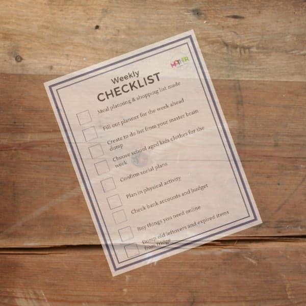 weekly routine checklist