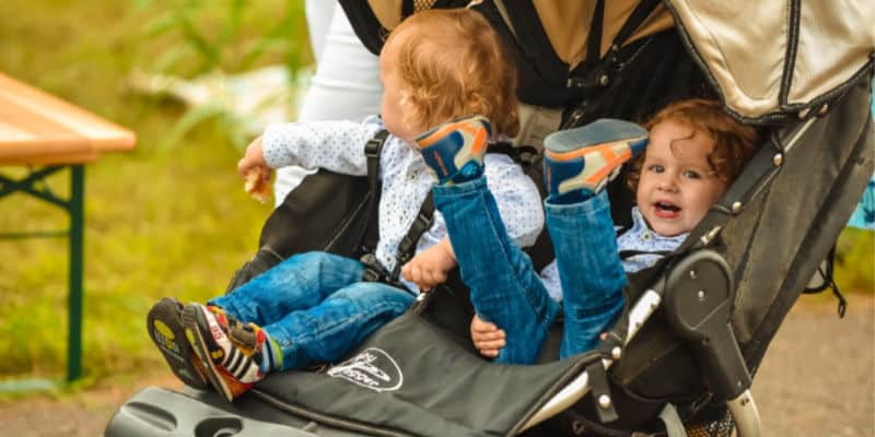 irish twins in a double stroller