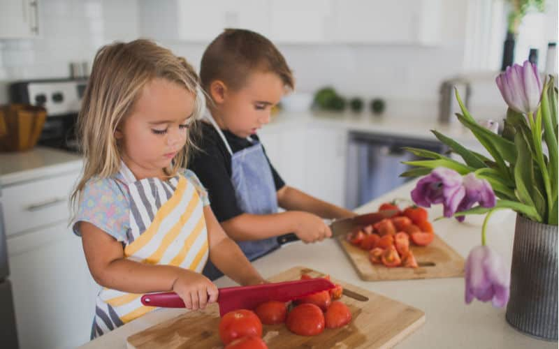 kids in kitchen doing cooking activity
