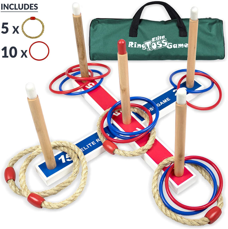 ring toss game for preschoolers in the yard