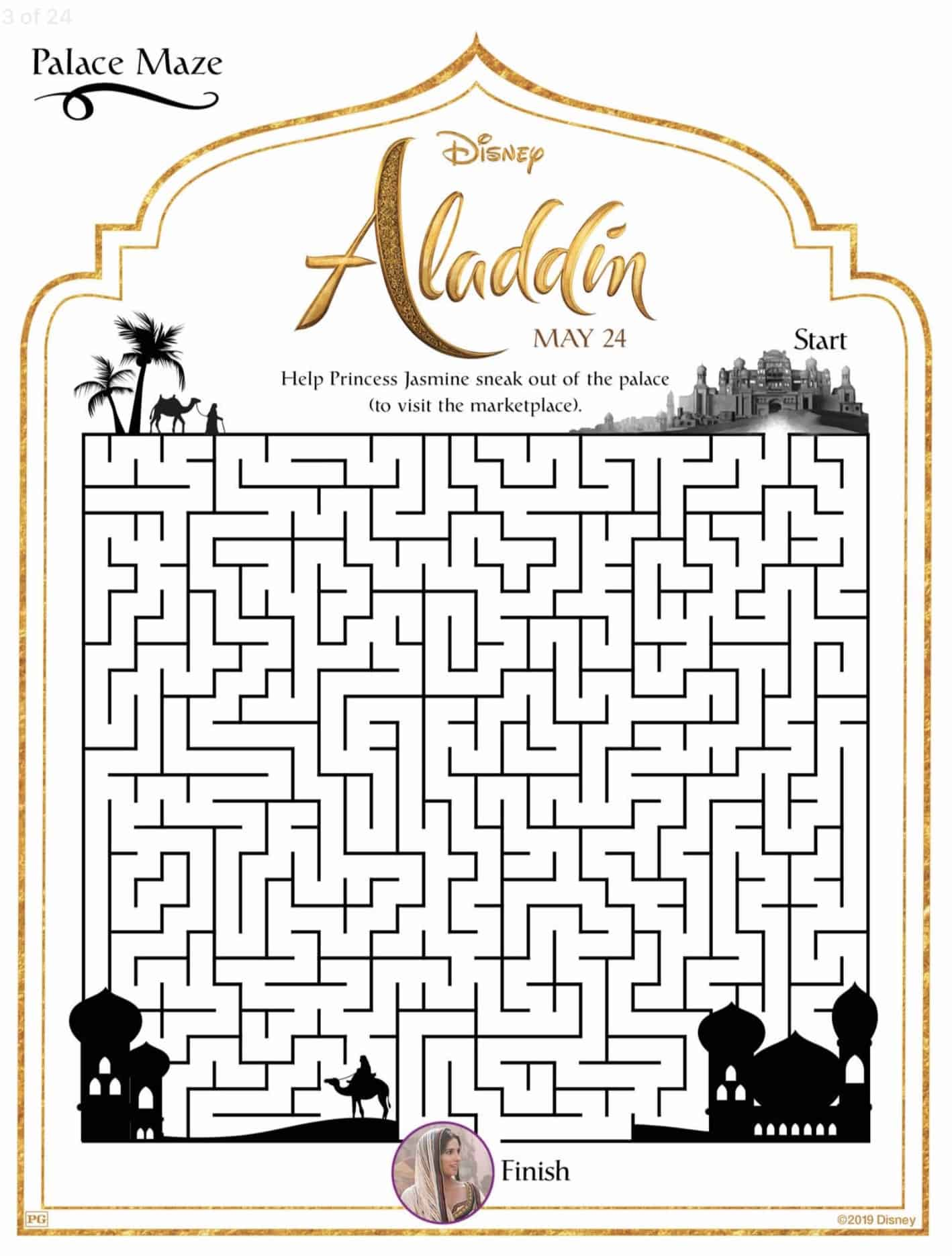 Disney S Aladdin Live Action Movie Activity And Coloring Sheets
