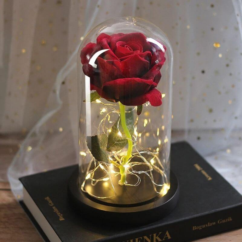 rose rouge artificielle lumineuse amour rose eternelle