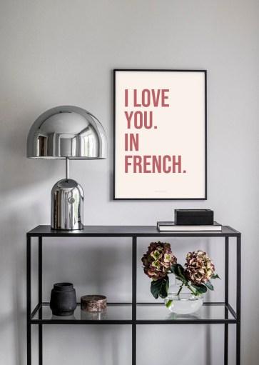Affiche I love you in french à imprimer
