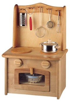 NIC - Childrens Wooden Kitchen - Stove Top Oven Concealed Sink
