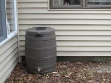 rain barrel in place (sans gutters)