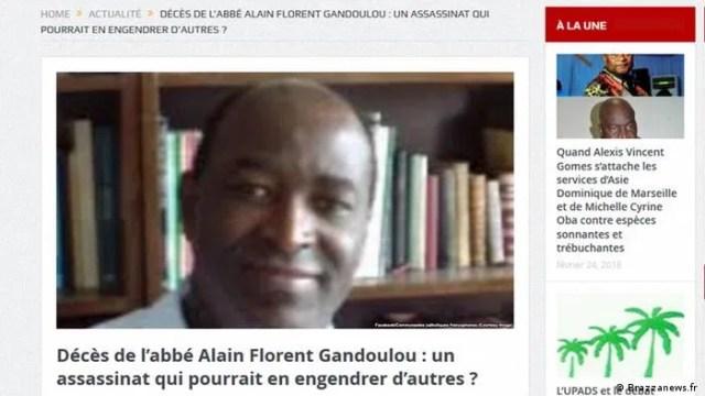 Screenshot der Seite Brazzanews.fr zum Tod von Alain Florent Gandoulou (Brazzanews.fr )