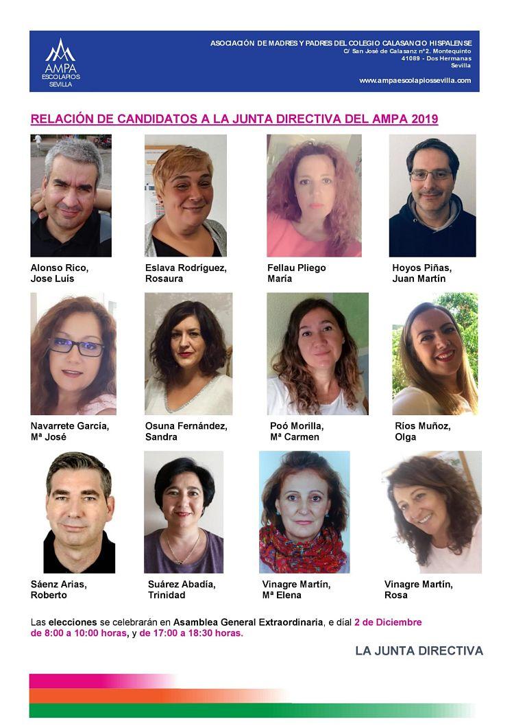 Lista de Candidatos a las Elecciones de la Junta Directiva de Ampa Escolapios Sevilla 2019