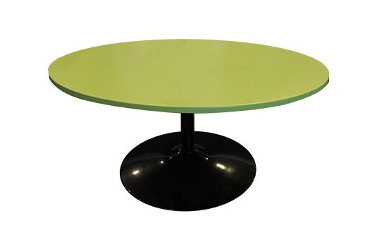 oval coffee table bright green with trumpet base
