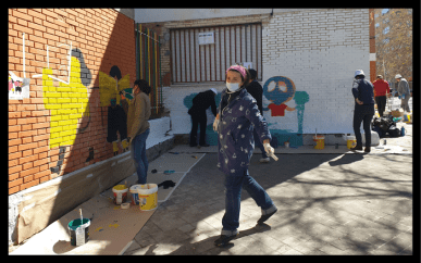 Jornada de trabajo comunitario de mejoras en el Ceip Javier de Miguel (Vallecas) en marzo 2021