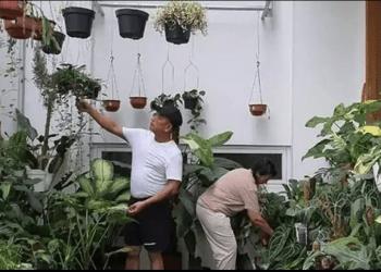 Kepala Staf Kepresidenan (KSP) Moeldoko menghabiskan waktu liburnya dengan merawat tanaman bersama dengan sang istri Koesni Harningsih, sambil ngopi. Foto/Instagram