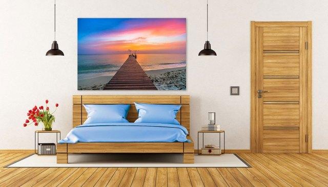 Couché du soleil sur le quai sur acrylique imprimée