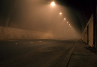 This is Sepulveda Blvd. going through the Mulholland Tunnel at 3 am. Coastal fog was coming in from West LA towards the San Fernando Valley.