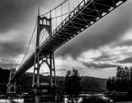 St. Georges Bridge - A Portland landmark, just about everyone with a camera has a shot of this amazing structure. I think the bridge looks better in black and white, giving it drama against a grey Portland sky.