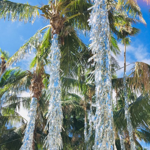 Tinsel-wrapped palm trees in Miami