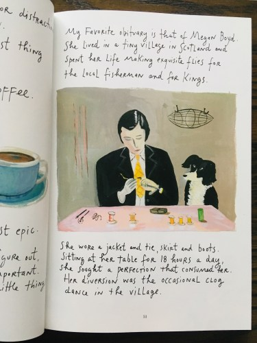 Megan Boyd's obituary, a page from Principles of Uncertainty by Maira Kalman