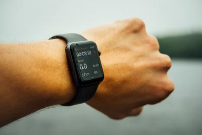 Fitness watch on wrist