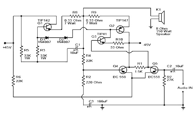 Simple 150 Watt Amplifier with Darlington Transistor - Amplifier