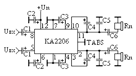 2x3 watt low-frequency amplifier based ka2206