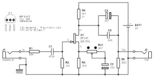 Guitar preamp, based on an FET BF245 and BF256