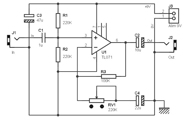 Guitar pre amplifier based TL071 - Amplifier Circuit Design