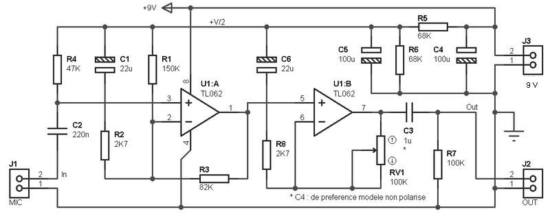 tl062 pre amp archives amplifier circuit designmono preamplifier based on tl062