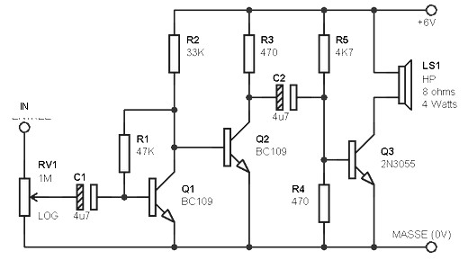 simple amplifier circuit 3w    8 ohm