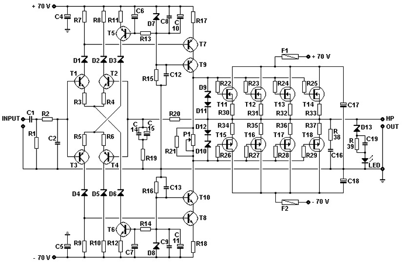 200W MOSFET amplifier circuit