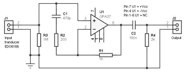 Hydrophone Preamplifier based on OpAmp OPA37  Amplifier