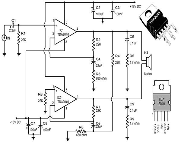 30w power amp tda2040