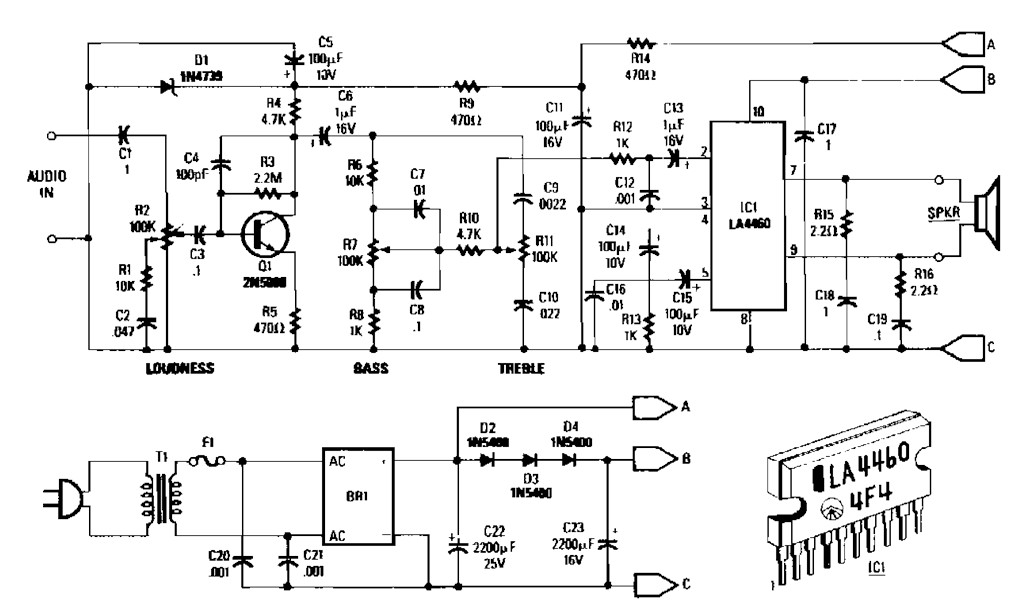 5 watt audio amplifier based LA4460